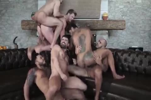 Six Muscle raw gangbang
