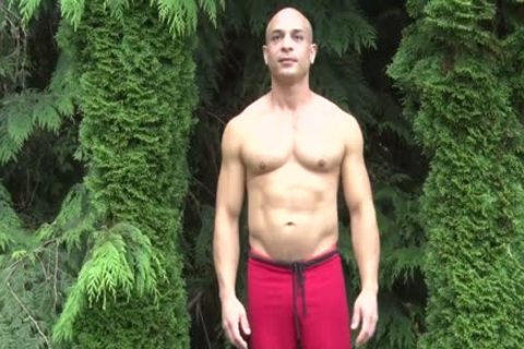 nasty Bald Muscle man Shows Off His 9-inch Sausage
