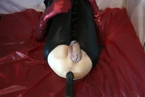 Sissy Doll plowed Red Pumps biggest dildo