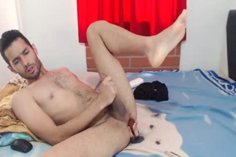 Fabio Grey - Flirt4Free - homo Latino stud Jerks His Monster shlong W sex tool In wazoo