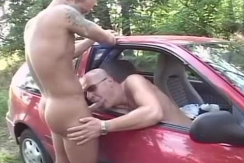 Two slutty dudes poke In The Woods In The Back Of His Car