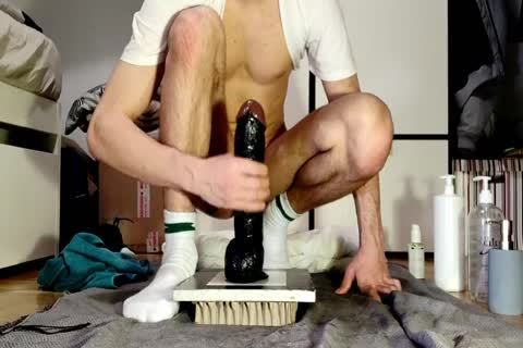 lascivious guy Mister Cate Sits On A biggest dildo Wearing A Face Mask
