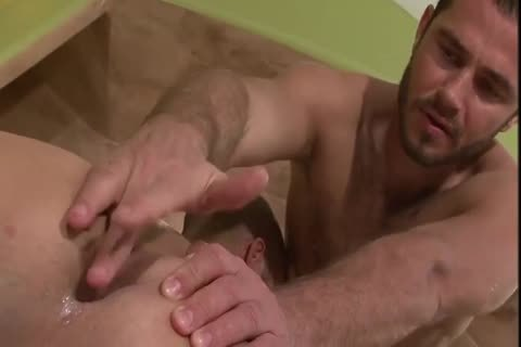 Gaysex Bottom Cums During Threeway enjoyment