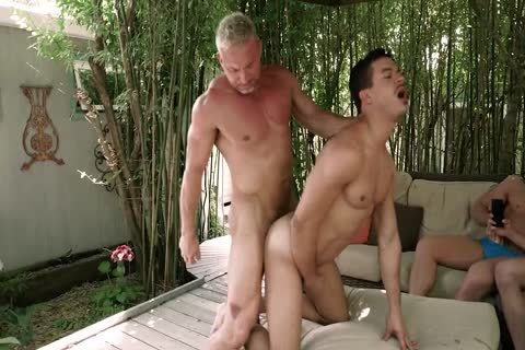 Daddy fucks twink while friends Watch<3