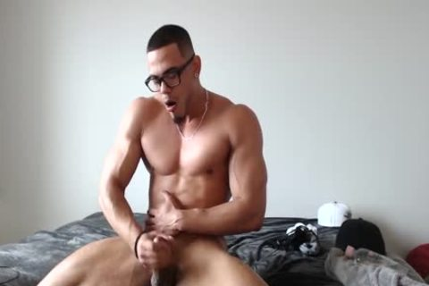 pretty Redbone Jacking His cock And Busting A Nut!