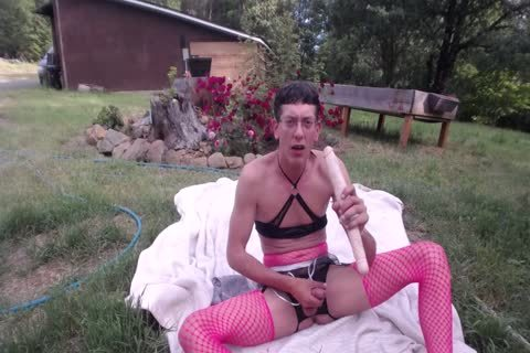 Outdoor dildo & Shovel nail For sex semen drinking CD Sissy Pantyboy