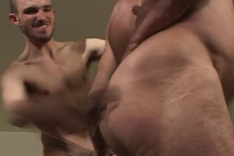 Bald daddy bushy bear has pleasure with pretty cub