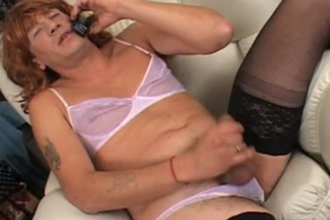 Phone sex cross dresser masturbates