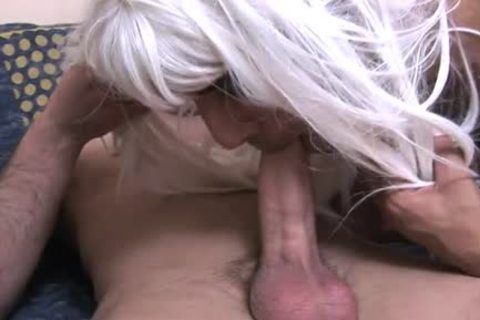 Cross dresser takes bare penis in his hairy ass